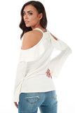 Faux Bell Sleeves Cold Shoulder Top