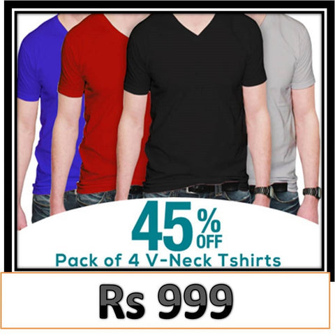V Neck half sleevesT shirts... Pack of 4