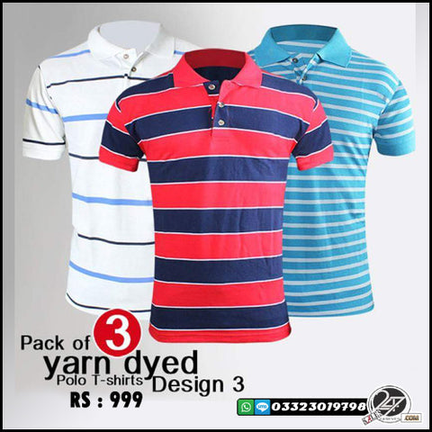 Pack of 3 Yarn Dyed (Design 3)  Polo T-Shirts