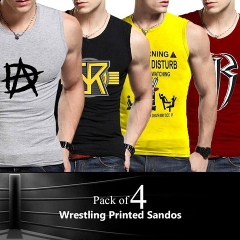 Pack of 4 Wrestling Printed Sandos