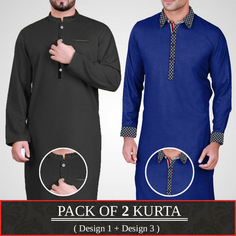 Pack of 2 Designer Kurta (Design 1 & Design 3)