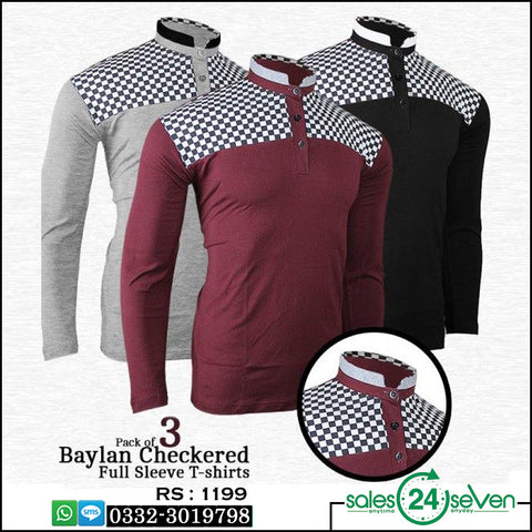 Pack of 3 Baylan Checkered Full Sleeve T-shirts