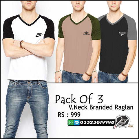 Pack of 3 Branded Raglan V Neck T-Shirts