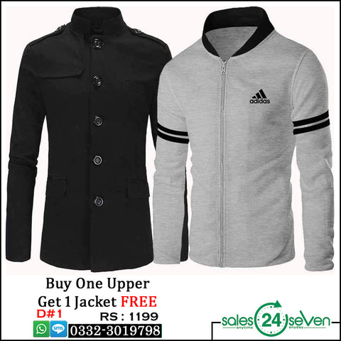 Grey Stripe Sleeves Zipper Upper with Black Fleece Button Upper