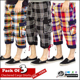 Pack of 3 Checkered Cargo Shorts
