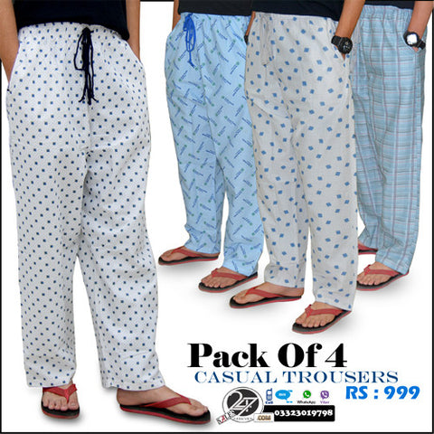 Pack of 4 Casual Trousers ( Karachi Free Delivery )