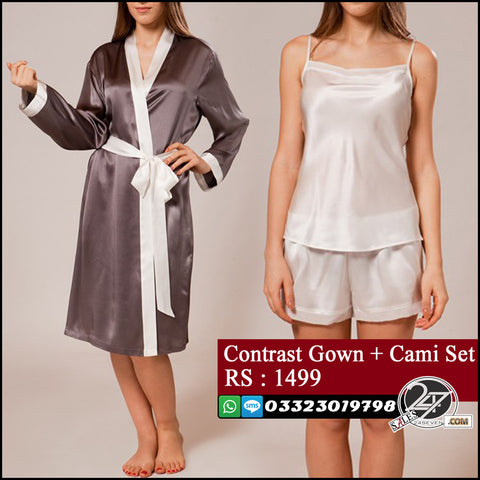 Contrast Robe Gown + Cami Set