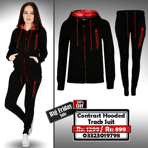 CONTRAST HOODED FEMALE TRACK SUIT