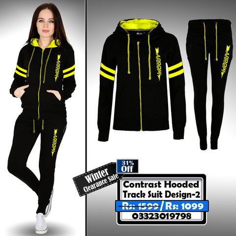 Contrast Hooded Female Track Suit Design-2