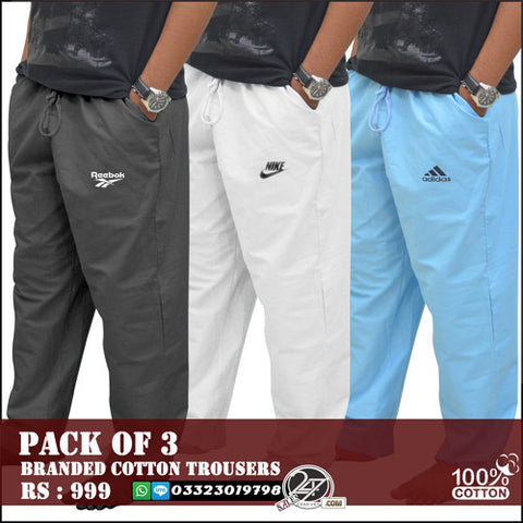 Pack of 3 Branded Cotton Trousers