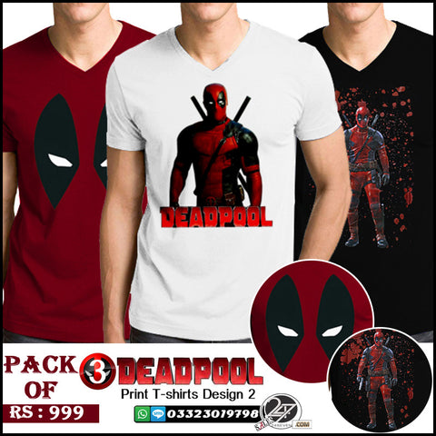 Pack of 3 DeadPool Printed T-Shirts