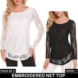 PACK OF 2 EMBROIDERED NET TOP DESIGN-1