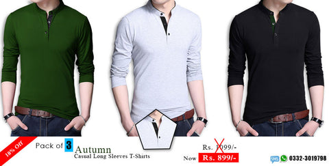 Sale: Pack of 3 Autumn Casual Long Sleeve T shirts