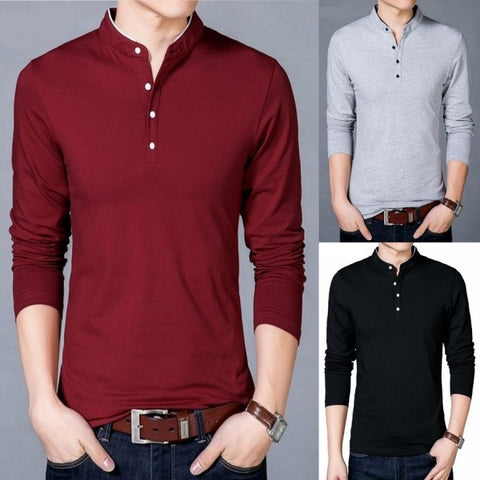 Pack Of 3 Contrast Collar Long Sleeve Shirts