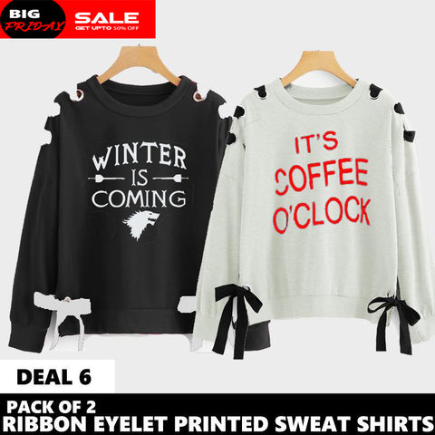 PACK OF 2 RIBBON EYELET PRINTED SWEAT SHIRT ( DEAL 6 )