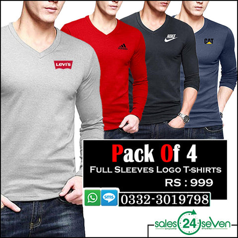 Pack of 4 Full Sleeves Logo T-Shirts