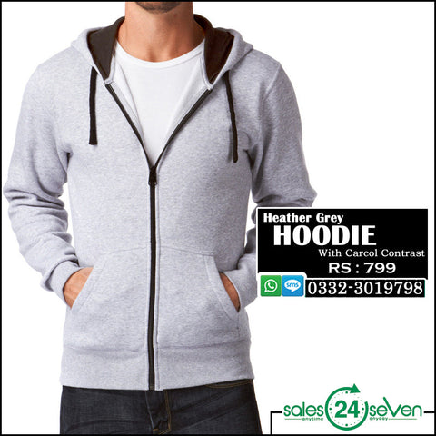 Heather Grey Hoodie with Black Contrast