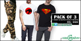 Pack of 3 ( 1 Army Trousers + 2 Super Hero T-Shirts)