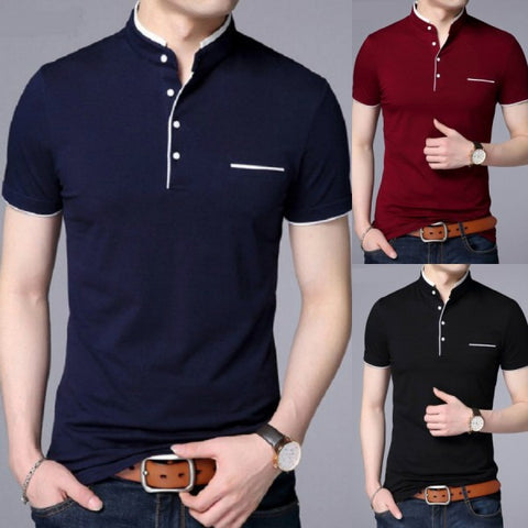 Pack of 3 Contrast Collar Front Button T-Shirts