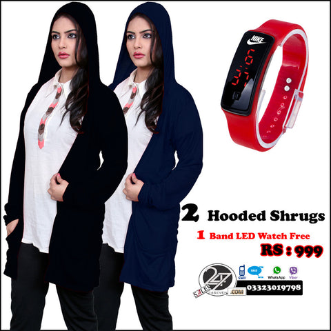2 Hooded shrugs with Free LED watch