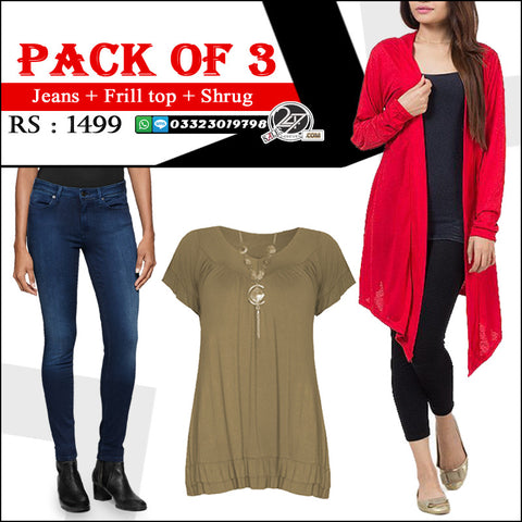 Pack of 3 ( 1 Shrug + 1 Jeans + 1 Frill Top)