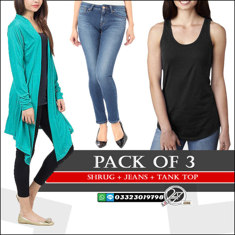 Pack of 3 ( 1 Shrug + 1 Jeans + 1 Tank Top)