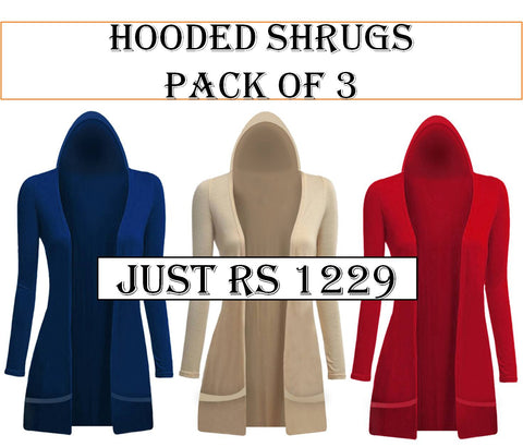 3 Hooded shrugs
