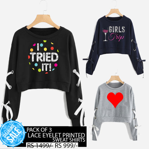 PACK OF 3 LACE EYELET PRINTED SWEAT SHIRTS