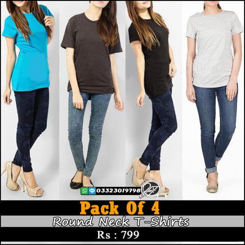 Pack of 4 Ladies Round Neck T-shirts