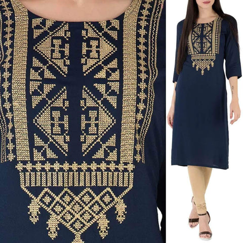 Unstitched Embroidered Cotton Cambric Kurti (Design AA-004)