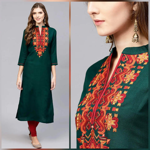 Unstitched Embroidered Cotton Cambric Kurti (Design AA-002)