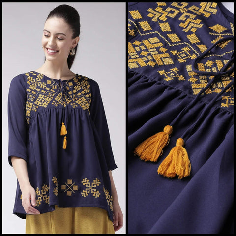 Purple Unstitched Embroidered Cotton Cambric Top (Design AA-001)