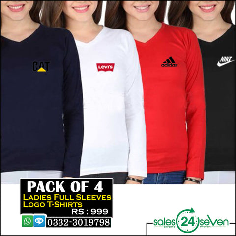 Pack of 4 Ladies Full Sleeves logo t shirts