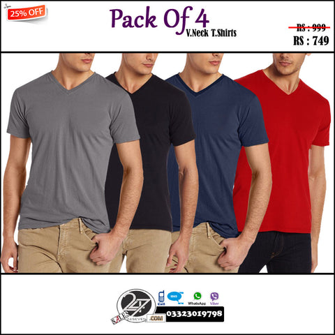 SALE: PACK OF 4 V NECK T-SHIRTS