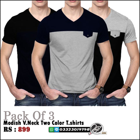 Pack of 3 Modish V-Neck Tshirts