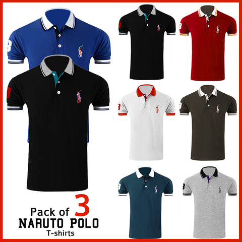 PACK OF 3 NARUTO POLO T-SHIRTS