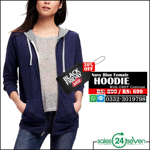 Navy Blue Female Hoodie with Grey Contrast