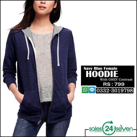 Navy Blue with Heather Grey contrast Hoodie