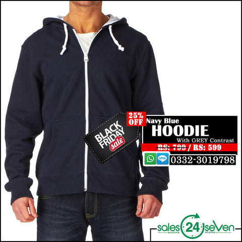 Navy Blue hoodie With Grey Contrast