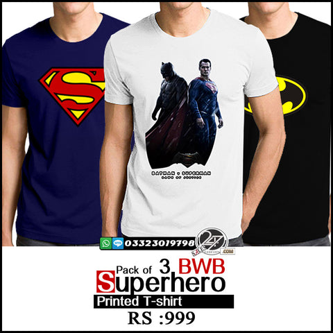 Pack of 3 BWB Super Hero Printed T-Shirts