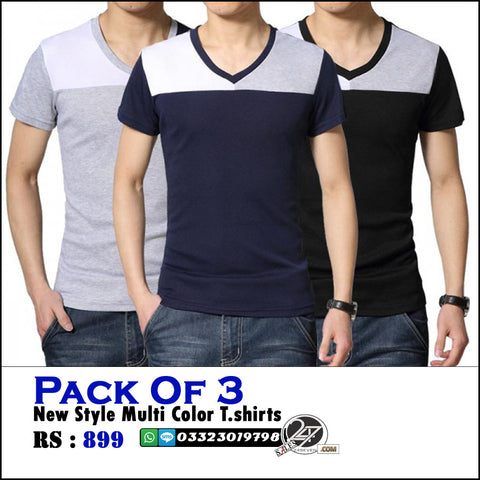 Pack of 3 Multi Color V-Neck Tshirts