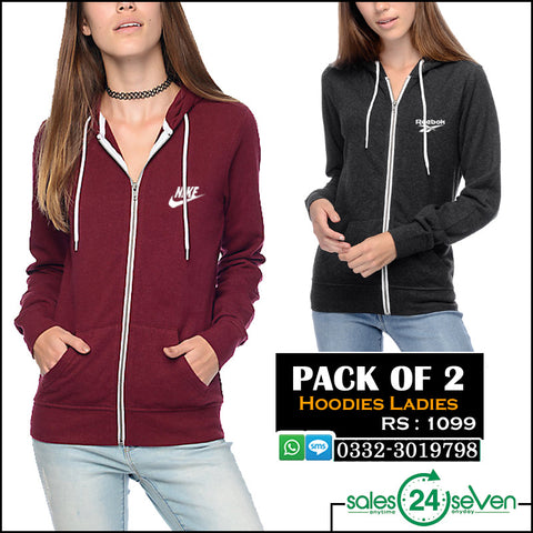 Pack of 2 Ladies Branded logo Hoodie