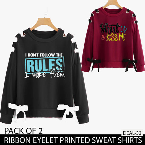 PACK OF 2 RIBBON EYELET PRINTED SWEAT SHIRTS ( DEAL 33 )
