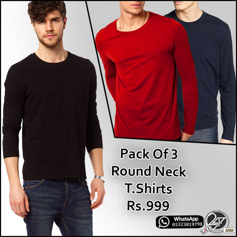 Pack of 3 Full Sleeves Round Neck T-Shirts