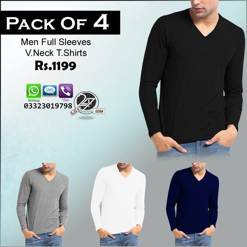 Pack of 4 V-Neck Full Sleeves T-Shirts