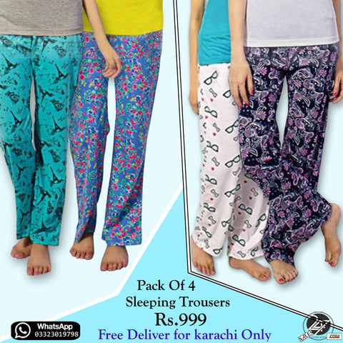 Pack of 4 Sleeping Trousers (Free Delivery in KARACHI)