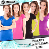 Pack of 5 V neck ladies T shirts