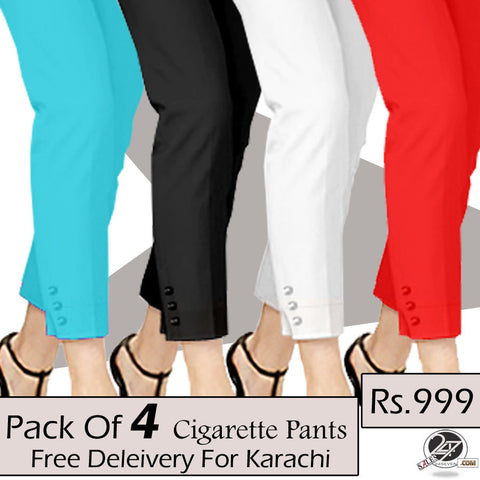 Pack of 4 Cigarette Pants (free Delivery For Karachi)