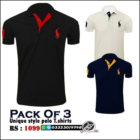 Pack of 3 Unique Style Polo Tshirts