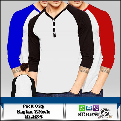 Pack of 3 Raglan Y Neck T shirts